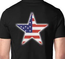 AMERICAN, STAR, Stars & Stripes, America, US, USA, on BLACK Unisex T-Shirt