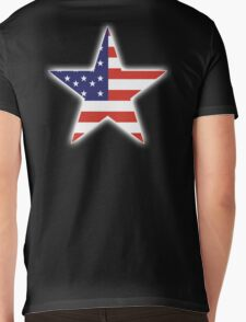AMERICAN, STAR, Stars & Stripes, America, US, USA, on BLACK Mens V-Neck T-Shirt