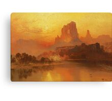 Thomas Moran - The Golden Hour . Mountains landscape: mountains, rocks, rocky nature, sky and clouds, trees, peak, forest, rustic, hill, travel, hillside Canvas Print