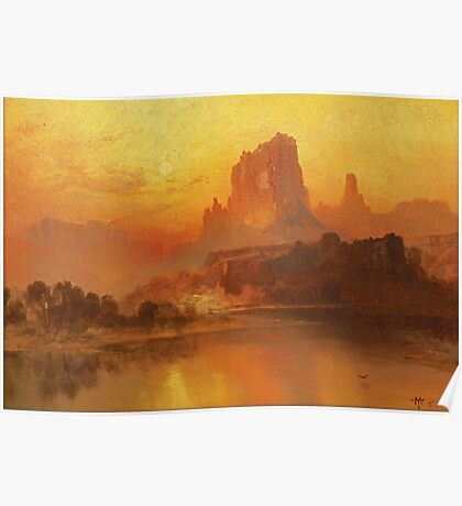 Thomas Moran - The Golden Hour . Mountains landscape: mountains, rocks, rocky nature, sky and clouds, trees, peak, forest, rustic, hill, travel, hillside Poster