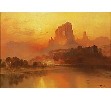 Thomas Moran - The Golden Hour . Mountains landscape: mountains, rocks, rocky nature, sky and clouds, trees, peak, forest, rustic, hill, travel, hillside Photographic Print