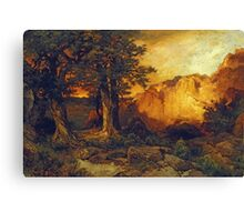 Thomas Moran - The Grand Canyon. Mountains landscape: mountains, rocks, rocky nature, sky and clouds, trees, peak, forest, rustic, hill, travel, hillside Canvas Print