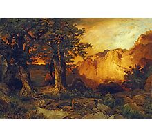 Thomas Moran - The Grand Canyon. Mountains landscape: mountains, rocks, rocky nature, sky and clouds, trees, peak, forest, rustic, hill, travel, hillside Photographic Print