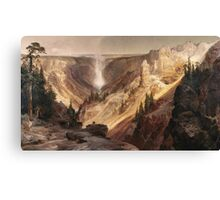 Thomas Moran - The Grand Canyon Of The Yellowstone . Mountains landscape: mountains, rocks, rocky nature, sky and clouds, trees, peak, forest, rustic, hill, travel, hillside Canvas Print