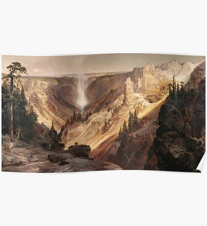Thomas Moran - The Grand Canyon Of The Yellowstone . Mountains landscape: mountains, rocks, rocky nature, sky and clouds, trees, peak, forest, rustic, hill, travel, hillside Poster