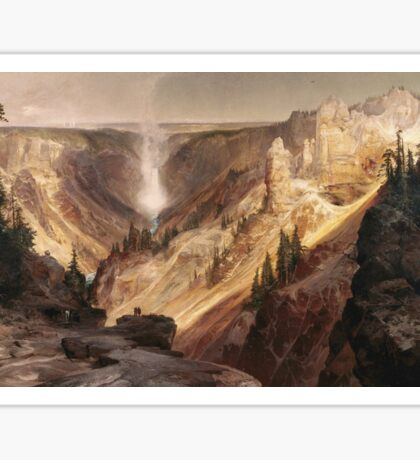Thomas Moran - The Grand Canyon Of The Yellowstone . Mountains landscape: mountains, rocks, rocky nature, sky and clouds, trees, peak, forest, rustic, hill, travel, hillside Sticker