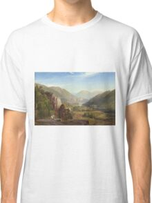 Thomas Moran - The Juniata, Evening. Mountains landscape: mountains, rocks, rocky nature, sky and clouds, trees, peak, forest, rustic, hill, travel, hillside Classic T-Shirt