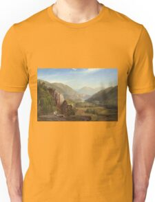 Thomas Moran - The Juniata, Evening. Mountains landscape: mountains, rocks, rocky nature, sky and clouds, trees, peak, forest, rustic, hill, travel, hillside Unisex T-Shirt