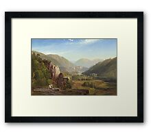 Thomas Moran - The Juniata, Evening. Mountains landscape: mountains, rocks, rocky nature, sky and clouds, trees, peak, forest, rustic, hill, travel, hillside Framed Print