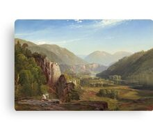 Thomas Moran - The Juniata, Evening. Mountains landscape: mountains, rocks, rocky nature, sky and clouds, trees, peak, forest, rustic, hill, travel, hillside Canvas Print