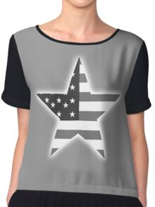 AMERICAN, STAR, Stars & Stripes, America, US, USA, BW on Black  Chiffon Top