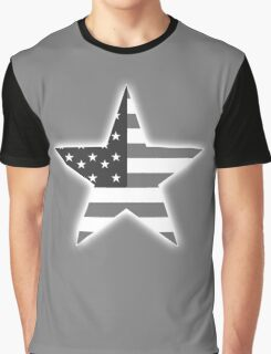 AMERICAN, STAR, Stars & Stripes, America, US, USA, BW on Black  Graphic T-Shirt