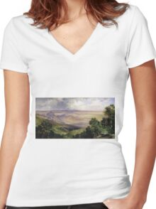 Thomas Moran - Valley Of Cuernavaca 1903. Mountains landscape: mountains, rocks, rocky nature, sky and clouds, trees, peak, forest, rustic, hill, travel, hillside Women's Fitted V-Neck T-Shirt