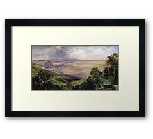 Thomas Moran - Valley Of Cuernavaca 1903. Mountains landscape: mountains, rocks, rocky nature, sky and clouds, trees, peak, forest, rustic, hill, travel, hillside Framed Print