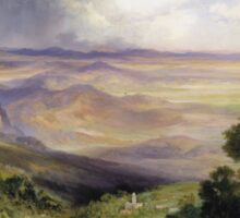 Thomas Moran - Valley Of Cuernavaca 1903. Mountains landscape: mountains, rocks, rocky nature, sky and clouds, trees, peak, forest, rustic, hill, travel, hillside Sticker
