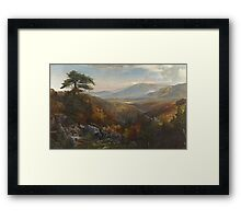 Thomas Moran - Valley Of The Catawissa In Autumn. Mountains landscape: mountains, rocks, rocky nature, sky and clouds, trees, peak, forest, rustic, hill, travel, hillside Framed Print