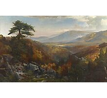 Thomas Moran - Valley Of The Catawissa In Autumn. Mountains landscape: mountains, rocks, rocky nature, sky and clouds, trees, peak, forest, rustic, hill, travel, hillside Photographic Print