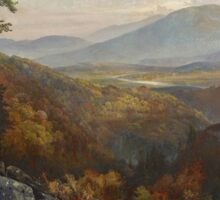 Thomas Moran - Valley Of The Catawissa In Autumn. Mountains landscape: mountains, rocks, rocky nature, sky and clouds, trees, peak, forest, rustic, hill, travel, hillside Sticker
