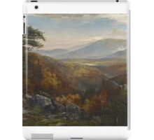 Thomas Moran - Valley Of The Catawissa In Autumn. Mountains landscape: mountains, rocks, rocky nature, sky and clouds, trees, peak, forest, rustic, hill, travel, hillside iPad Case/Skin