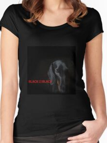 black dachshund Women's Fitted Scoop T-Shirt