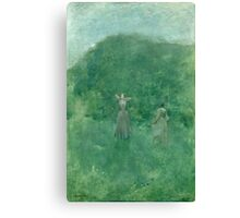 Thomas Wilmer Dewing - Summer. Forest view: forest , summer,  fauna, nature, flowers, woman, weekend ,dreams, love, charm, emerald Canvas Print
