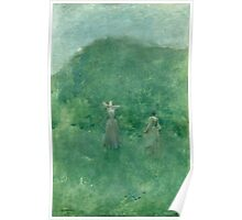 Thomas Wilmer Dewing - Summer. Forest view: forest , summer,  fauna, nature, flowers, woman, weekend ,dreams, love, charm, emerald Poster