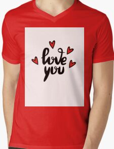 I love you hand lettering feelings happiness heart sign recognition Mens V-Neck T-Shirt