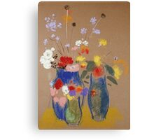 Odilon Redon - Three Vases Of Flowers. Still life with flowers: flowers, blossom, nature, botanical, floral flora, wonderful flower, plants, cute plant for kitchen interior, garden, vase Canvas Print