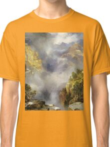 Thomas Moran - Mist In The Canyon. Mountains landscape: mountains, rocks, rocky nature, sky and clouds, trees, peak, forest, rustic, hill, travel, hillside Classic T-Shirt