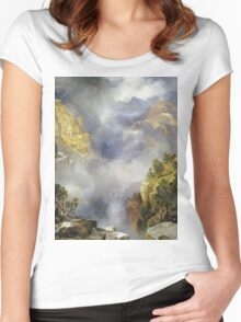 Thomas Moran - Mist In The Canyon. Mountains landscape: mountains, rocks, rocky nature, sky and clouds, trees, peak, forest, rustic, hill, travel, hillside Women's Fitted Scoop T-Shirt
