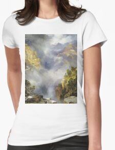 Thomas Moran - Mist In The Canyon. Mountains landscape: mountains, rocks, rocky nature, sky and clouds, trees, peak, forest, rustic, hill, travel, hillside Womens Fitted T-Shirt