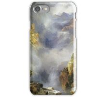 Thomas Moran - Mist In The Canyon. Mountains landscape: mountains, rocks, rocky nature, sky and clouds, trees, peak, forest, rustic, hill, travel, hillside iPhone Case/Skin