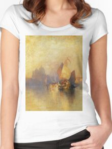 Thomas Moran - Opalescent Venice. Sea landscape: sea view,  yachts,  holiday, sailing boat, coast seaside, waves and beach, marine, seascape, sun clouds, nautical, ocean Women's Fitted Scoop T-Shirt