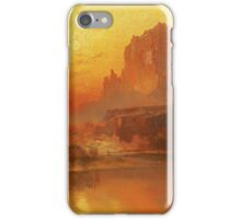 Thomas Moran - The Golden Hour . Mountains landscape: mountains, rocks, rocky nature, sky and clouds, trees, peak, forest, rustic, hill, travel, hillside iPhone Case/Skin