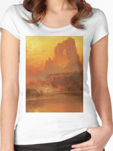 Thomas Moran - The Golden Hour . Mountains landscape: mountains, rocks, rocky nature, sky and clouds, trees, peak, forest, rustic, hill, travel, hillside Women's Fitted Scoop T-Shirt