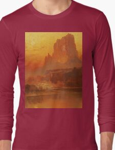 Thomas Moran - The Golden Hour . Mountains landscape: mountains, rocks, rocky nature, sky and clouds, trees, peak, forest, rustic, hill, travel, hillside Long Sleeve T-Shirt