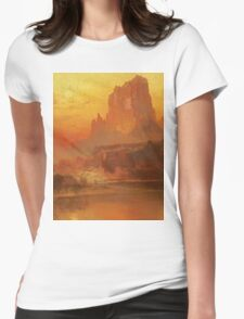 Thomas Moran - The Golden Hour . Mountains landscape: mountains, rocks, rocky nature, sky and clouds, trees, peak, forest, rustic, hill, travel, hillside Womens Fitted T-Shirt