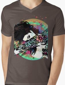 Coy - Tattooed Woman, Splashes of Color Mens V-Neck T-Shirt