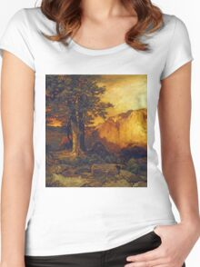 Thomas Moran - The Grand Canyon. Mountains landscape: mountains, rocks, rocky nature, sky and clouds, trees, peak, forest, rustic, hill, travel, hillside Women's Fitted Scoop T-Shirt