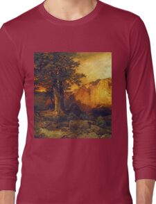 Thomas Moran - The Grand Canyon. Mountains landscape: mountains, rocks, rocky nature, sky and clouds, trees, peak, forest, rustic, hill, travel, hillside Long Sleeve T-Shirt