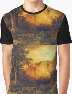 Thomas Moran - The Grand Canyon. Mountains landscape: mountains, rocks, rocky nature, sky and clouds, trees, peak, forest, rustic, hill, travel, hillside Graphic T-Shirt