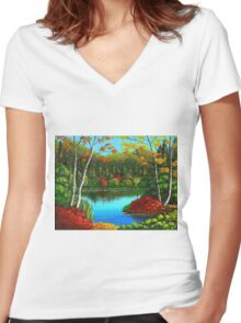 Autumn On The Water Women's Fitted V-Neck T-Shirt