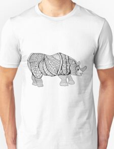Rhinoceros. Hand-drawn Rhino with ethnic floral doodle pattern. Coloring book page - zendala, design for meditation for adults, vector illustration, isolated on a white background. Zen doodles. Unisex T-Shirt