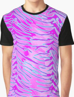 Tiger Stripes Blue, Pink and White Graphic T-Shirt