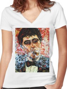 Tony Montana Women's Fitted V-Neck T-Shirt