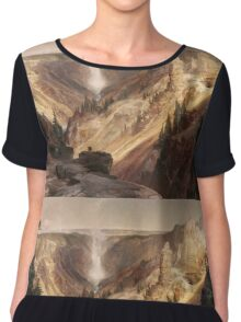 Thomas Moran - The Grand Canyon Of The Yellowstone . Mountains landscape: mountains, rocks, rocky nature, sky and clouds, trees, peak, forest, rustic, hill, travel, hillside Chiffon Top