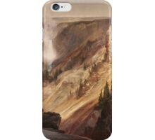Thomas Moran - The Grand Canyon Of The Yellowstone . Mountains landscape: mountains, rocks, rocky nature, sky and clouds, trees, peak, forest, rustic, hill, travel, hillside iPhone Case/Skin