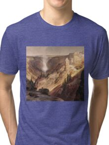 Thomas Moran - The Grand Canyon Of The Yellowstone . Mountains landscape: mountains, rocks, rocky nature, sky and clouds, trees, peak, forest, rustic, hill, travel, hillside Tri-blend T-Shirt