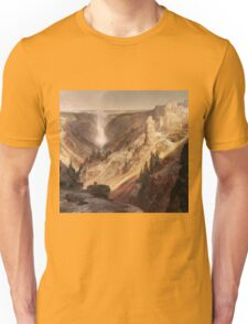 Thomas Moran - The Grand Canyon Of The Yellowstone . Mountains landscape: mountains, rocks, rocky nature, sky and clouds, trees, peak, forest, rustic, hill, travel, hillside Unisex T-Shirt