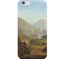 Thomas Moran - The Juniata, Evening. Mountains landscape: mountains, rocks, rocky nature, sky and clouds, trees, peak, forest, rustic, hill, travel, hillside iPhone Case/Skin
